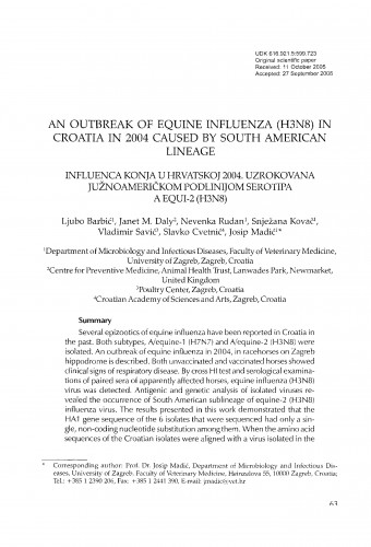 An outbreak of equine influenza (H3N8) in Croatia in 2004 caused by South American lineage