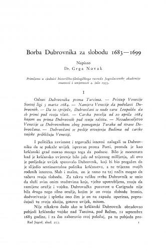 Borba Dubrovnika za slobodu 1683-1699.