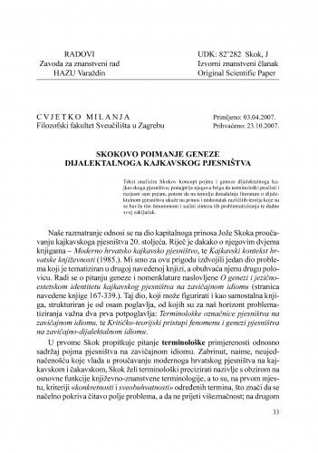 Skokovo poimanje geneze dijalektalnoga kajkavskog pjesništva : Radovi Zavoda za znanstveni rad Varaždin