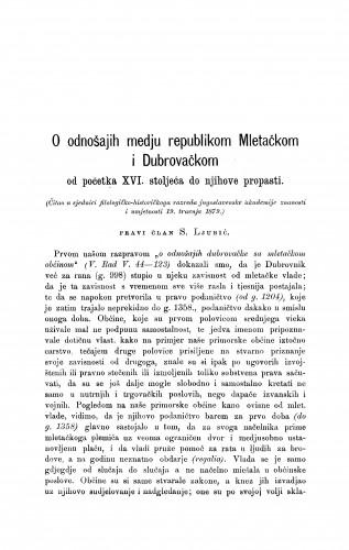 O odnošajih medju republikom Mletačkom i Dubrovačkom : od početka XVI. stoljeća do njihove propasti : RAD