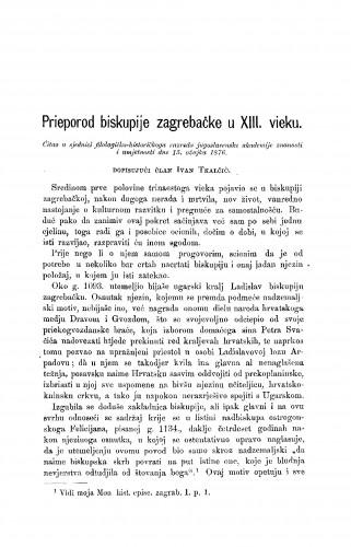 Prieporod biskupije zagrebačke u XIII. vieku : RAD