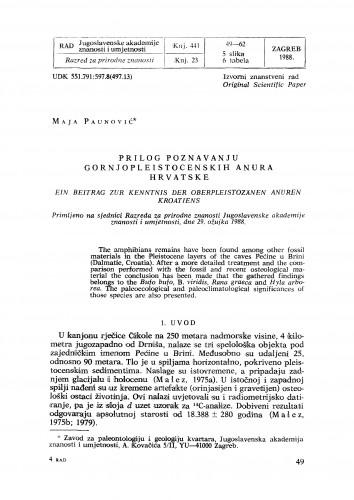 Prilog poznavanju gornjopleistocenskih anura Hrvatske