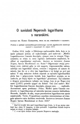 O suvislosti Neperovih logarithama s naravskimi : RAD