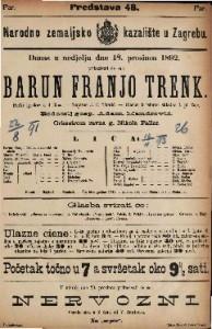 Barun Franjo Trenk Pučki igrokaz u 4 čina / Napisao J. E. Tomić