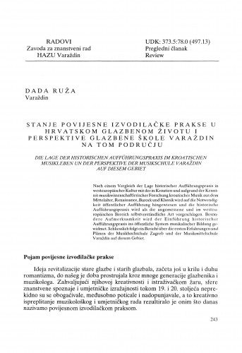 Stanje povijesne izvodilačke prakse u hrvatskom glazbenom životu i perspektive glazbene škole Varaždin na tom području : Radovi Zavoda za znanstveni rad Varaždin