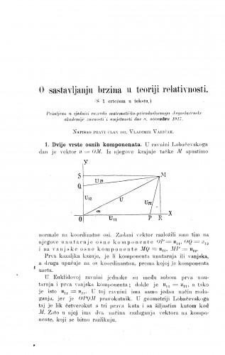 O sastavljanju brzina u teoriji relativnosti