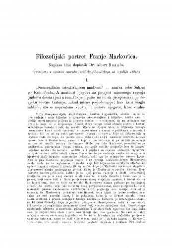 Filozofijski portret Franje Markovića