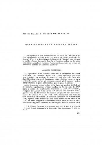 Quarantaine et lazarets en France