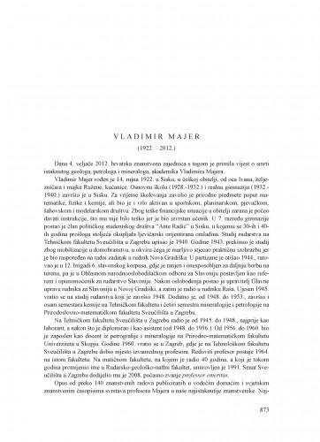 Vladimir Majer (1922.-2012.) : [nekrolog] : Ljetopis