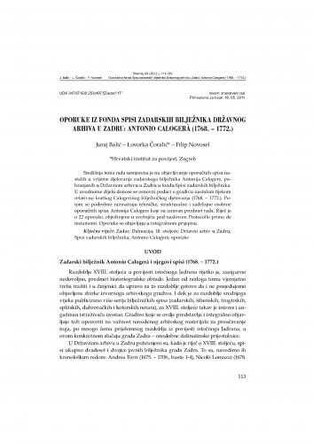 Oporuke iz fonda Spisi zadarskih bilježnika Državnog arhiva u Zadru: Antonio Calogera (1768. - 1772.) : Starine