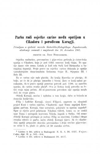 Parba radi osječke carine među opatijom u Cikadoru i porodicom Korogji / Josip Bösendorfer