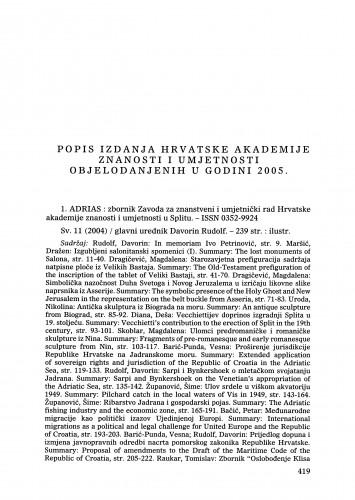 Popis izdanja Hrvatske akademije znanosti i umjetnosti objelodanjenih u godini 2005. : Ljetopis