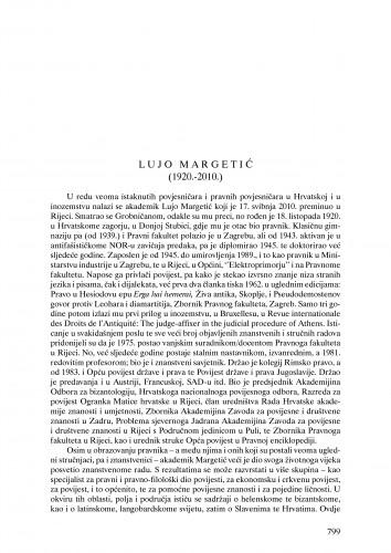Lujo Margetić (1920.-2010.) : nekrolog : Ljetopis