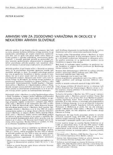 Arhivski viri za zgodovino Varaždina in okolice v nekaterih arhivih Slovenije