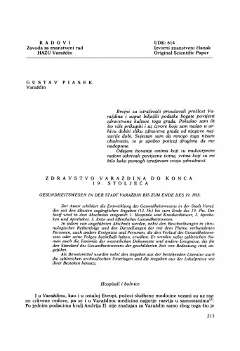 Zdravstvo Varaždina do konca 19. stoljeća : Radovi Zavoda za znanstveni rad Varaždin