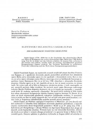 Slovenski skladatelj Jakob Zupan : Radovi Zavoda za znanstveni rad Varaždin