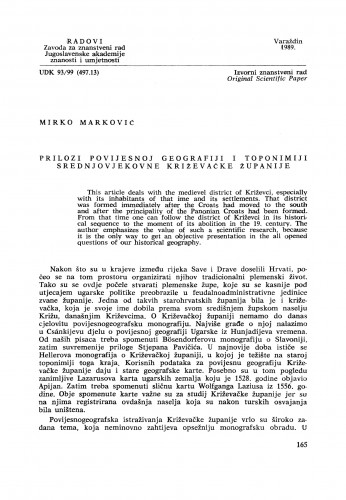 Prilozi povijesnoj geografiji i toponimiji srednjovjekovne Križevačke županije : Radovi Zavoda za znanstveni rad Varaždin