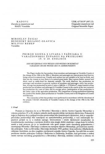Prirod sijena s livada i pašnjaka u Varaždinskoj županiji na prijelomu 19. u 20. stoljeće : Radovi Zavoda za znanstveni rad Varaždin