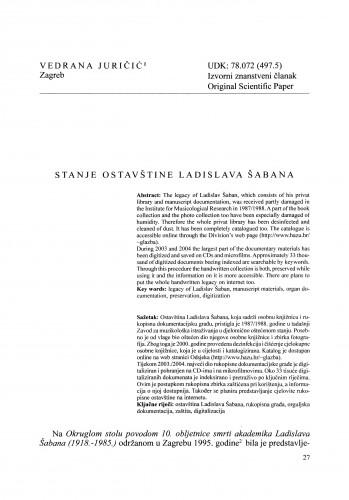 Stanje ostavštine Ladislava Šabana
