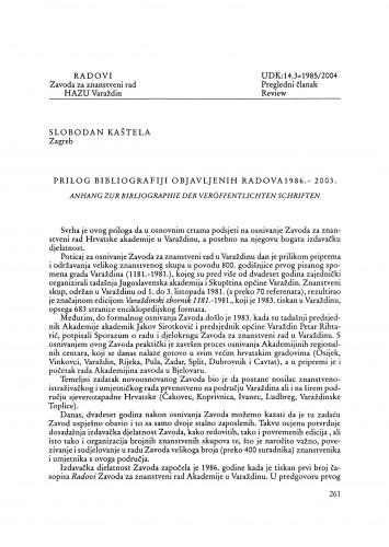Prilog bibliografiji objavljenih radova [Zavoda za znanstveni rad u Varaždinu] : 1986.-2003. : Radovi Zavoda za znanstveni rad Varaždin