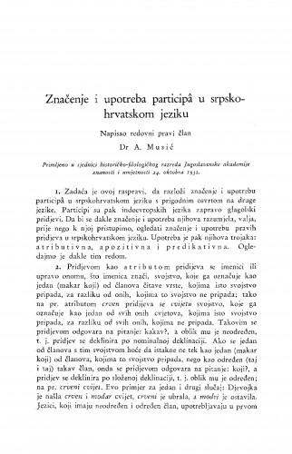 Značenje i upotreba participâ u srpsko-hrvatskom jeziku