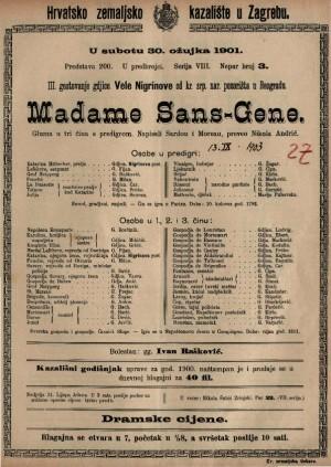 Madame Sans-Gene gluma u tri čina s predigrom / napisali Sardou i Moreau