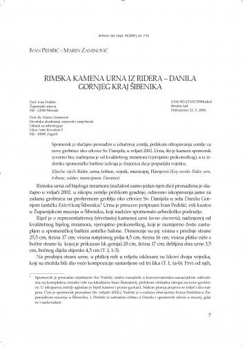 Rimska kamena urna iz Ridera - Danila Gornjeg kraj Šibenika : Arheološki radovi i rasprave = Acta et dissertationes archaeologicae