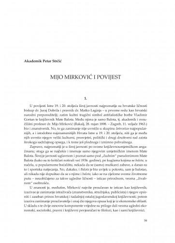 Mijo Mirković i povijest