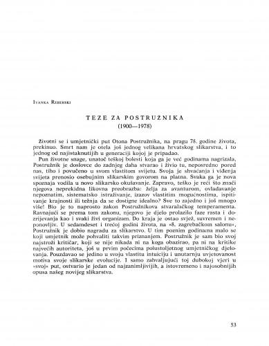 Teze za Postružnika : (1900-1978) : Bulletin Razreda za likovne umjetnosti Jugoslavenske akademije znanosti i umjetnosti