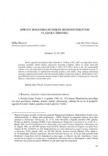 Isprave bosansko-humskih srednjovjekovnih vladara Šibeniku : Radovi Zavoda za povijesne znanosti HAZU u Zadru
