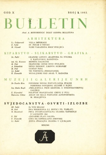 God. 10(1962), Br. 3 : Bulletin Zavoda za likovne umjetnosti Jugoslavenske akademije znanosti i umjetnosti