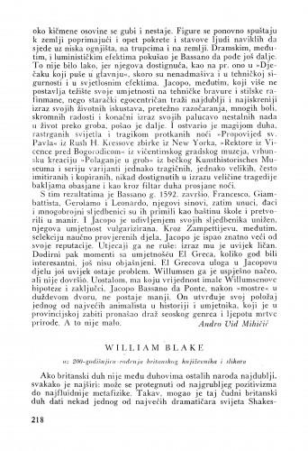 William Blake : Bulletin Instituta za likovne umjetnosti Jugoslavenske akademije znanosti i umjetnosti