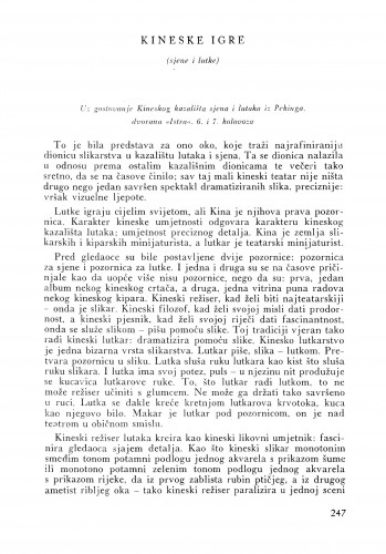 Kineske igre : Bulletin Instituta za likovne umjetnosti Jugoslavenske akademije znanosti i umjetnosti