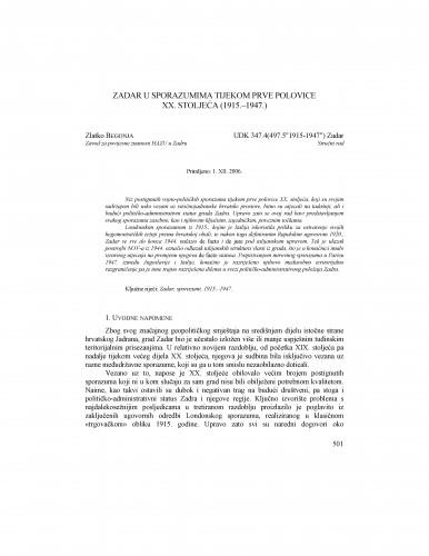 Zadar u sporazumima tijekom prve polovice XX. stoljeća (1915.-1947.) : Radovi Zavoda za povijesne znanosti HAZU u Zadru
