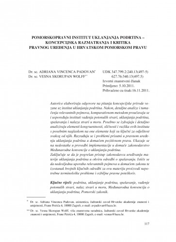Pomorskopravni institut uklanjanja podrtina - koncepcijska razmatranja i kritika pravnog uređenja u hrvatskom pomorskom pravu : Poredbeno pomorsko pravo