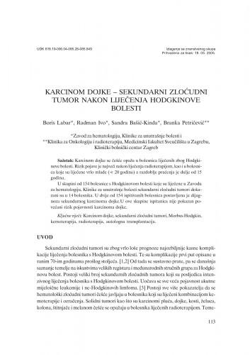 Karcinom dojke - sekundarni zloćudni tumor nakon liječenja Hodgkinove bolesti