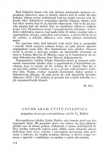 Govor prilikom otvorenja retrospektivne izložbe Lj. Babića : Bulletin Odjela VII. za likovne umjetnosti Jugoslavenske akademije znanosti i umjetnosti