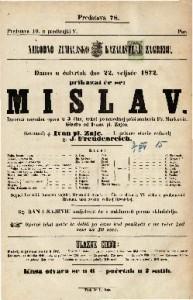 Mislav : izvorna narodna opera u 3 čina