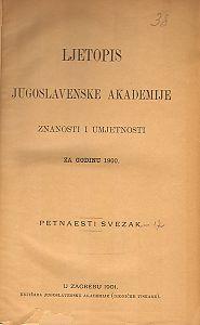 Za godinu 1900. Sv. 15 : Ljetopis
