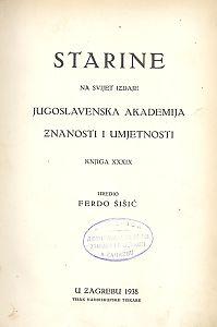 Knj. 39(1938) : Starine