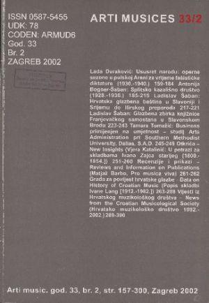 God. 33(2002), br. 2 : Arti musices
