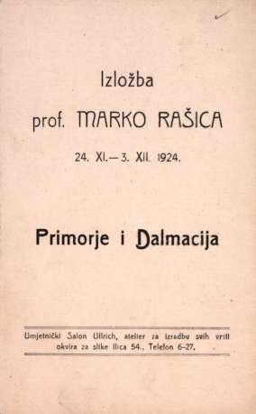 Izložba prof. Marko Rašica 24.XI. - 3.XII. 1924., Primorje i Dalmacija