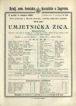 Umjetnička žica Opereta u 2 čina sa predigrom / od Edmunda Eyslera  =  (Kunstlerblut)