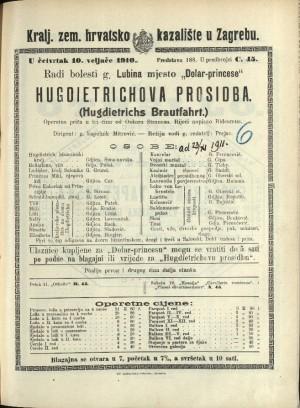 Hugdietrichova prosidba Operetna priča u tri čina / od Oskara Straussa  =  (Hugdietrichs Brautfahrt)