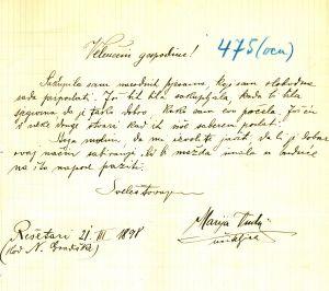 Pismo učiteljice Marije Vudy (Wudy) upućeno dr. Antunu Radiću Marija Vudy