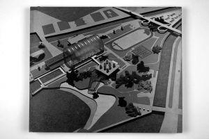 Kombinirano plivalište, Rijeka-Sušak-Delta; projekt prototipa Maketa, vizura 1
