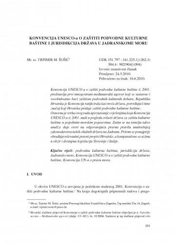 Konvencija UNESCO-a o zaštiti podvodne kulturne baštine i jurisdikcija država u Jadranskome moru : Poredbeno pomorsko pravo