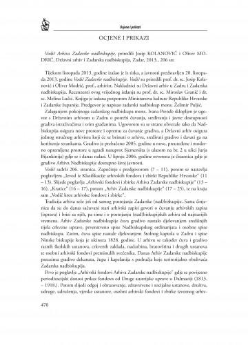 Vodič Arhiva Zadarske nadbiskupije, priredili Josip Kolanović i Oliver Modrić, Državni arhiv i Zadarska nadbiskupija, Zadar, 2013. : [prikaz] : Radovi Zavoda za povijesne znanosti HAZU u Zadru