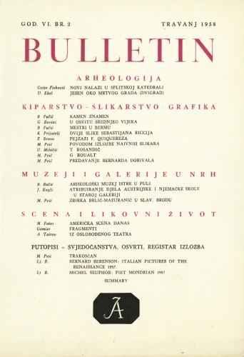 God. 6(1958), Br. 2 : Bulletin Instituta za likovne umjetnosti Jugoslavenske akademije znanosti i umjetnosti