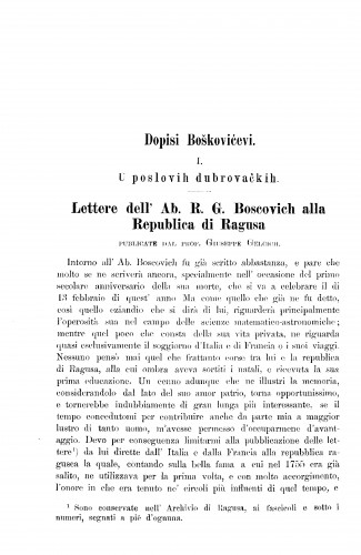 Dopisi Boškovićevi : (1. U poslovih dubrovačkih. Lettere dell' Ab. R. G. Boscovich alla Republica di Ragusa. Publicate dal prof. Giuseppe Gelcich. - 2. S različitim osobinama) : RAD